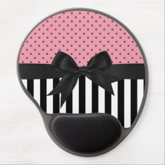 Cute elegant trendy stripes polka dots pattern gel mouse pad