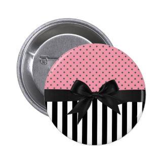 Cute elegant trendy stripes polka dots pattern pinback button