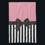 "Cute elegant trendy stripes polka dots pattern towel<br><div class=""desc"">Cute elegant trendy black and white stripes pink and grey polka dots patterns,  black ribbon and bow. Personalize it with your name favourite word or phrase by clicking the customise button and add text,  choose the text font and colour. Image print</div>"
