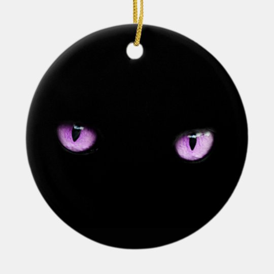 Cute Elegant Unique Xmas Animal Purple Eyes of Cat Ceramic Ornament