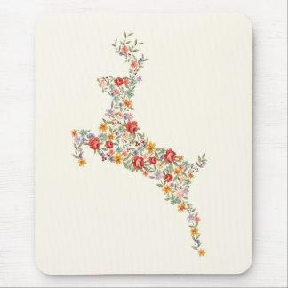 Cute elegant vintage spring floral deer silhouette mouse pad