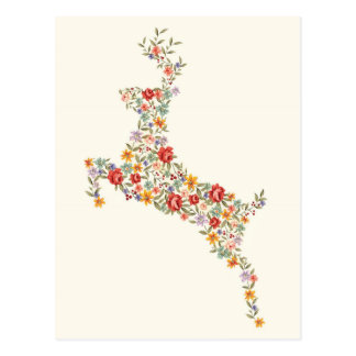 Cute elegant vintage spring floral deer silhouette postcard