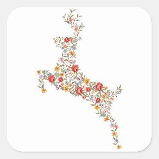 Cute elegant vintage spring floral deer silhouette stickers