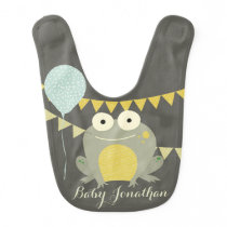 CUTE ELEGANT YELLOW BLUE FROG BALLOON CELEBRATION BIB