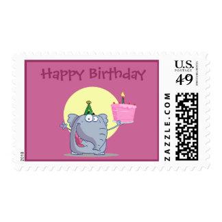 Cute Elelphant with Birthday Cake Postage