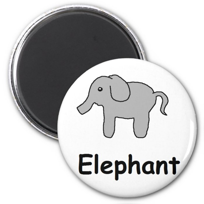 Cute Elephant 2 Inch Round Magnet
