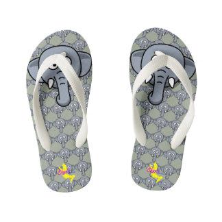Cute elephant 2 kid's flip flops