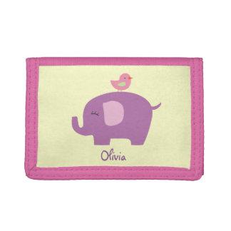 Cute Elephant and Bird Girls Wallet