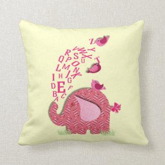 Cute Elephant and Chicks Alphabet Print Throw Pillows