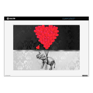 """Cute elephant and love heart on gray 15"""" laptop skins"""