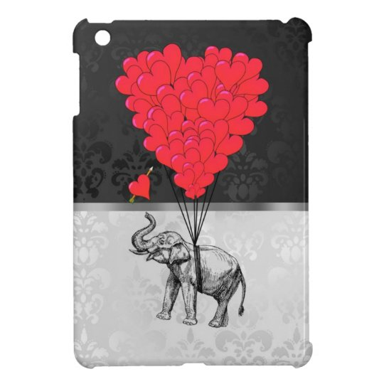 Cute elephant and love heart on gray iPad mini covers