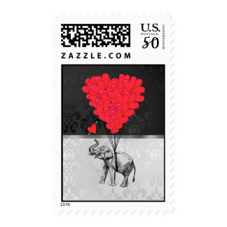 Cute elephant and love heart on gray postage
