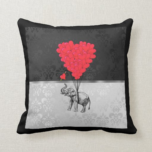 Cute Pillows And Blankets : Cute elephant and love heart on gray throw pillows Zazzle