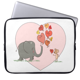 cute elephant and mouse valentine love vector computer sleeve