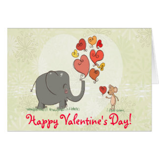 cute elephant and mouse valentine love vector II Card