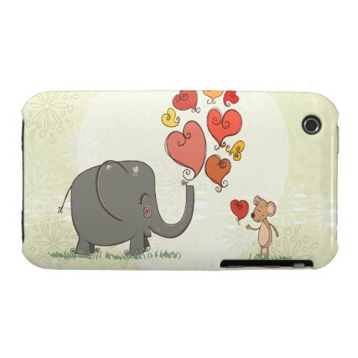 cute elephant and mouse valentine love vector II iPhone 3 Case