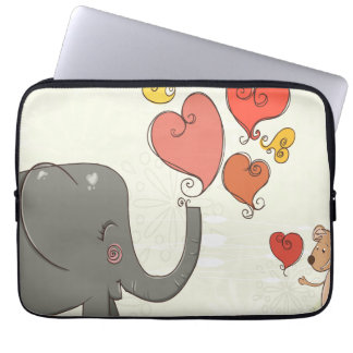 cute elephant and mouse valentine love vector II Laptop Sleeves