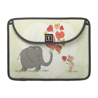 cute elephant and mouse valentine love vector II Sleeves For MacBooks