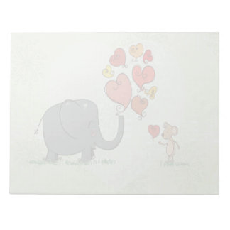 cute elephant and mouse valentine love vector II Memo Notepads
