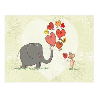 cute elephant and mouse valentine love vector II Postcard