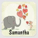 cute elephant and mouse valentine love vector II Square Sticker