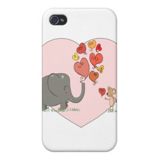 cute elephant and mouse valentine love vector iPhone 4 cases