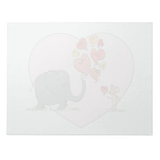 cute elephant and mouse valentine love vector note pads