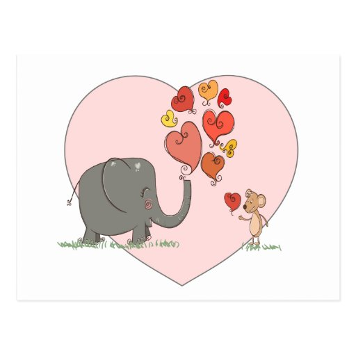 cute elephant and mouse valentine love vector postcards