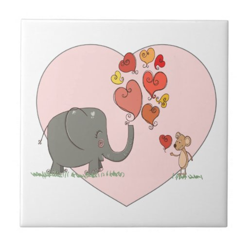 cute elephant and mouse valentine love vector tile