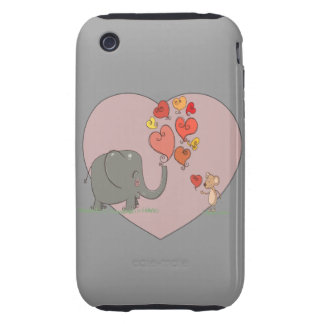 cute elephant and mouse valentine love vector tough iPhone 3 covers