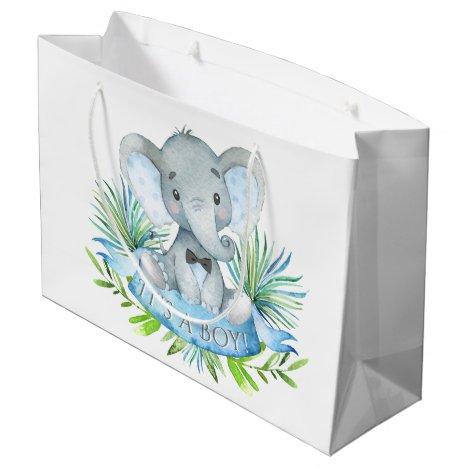 Cute Elephant Baby Boy Baby Shower Large Gift Bag