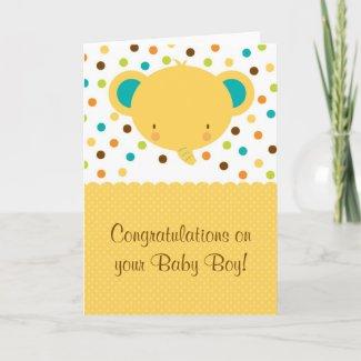 Cute Elephant Baby Boy Congratulations Greeting Ca card