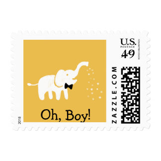 Cute Elephant Baby Boy Gold Baby Shower Postage