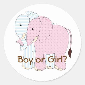 Cute Elephant Baby Gender Reveal Par ty Sticker