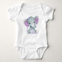 Cute elephant baby girl bodysuit