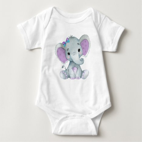 Cute elephant baby girl bodysuit