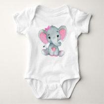Cute elephant baby girl bodysuit pink rustic