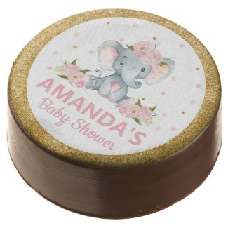 Cute Elephant Baby Shower Blush Floral Dessert Chocolate Covered Oreo