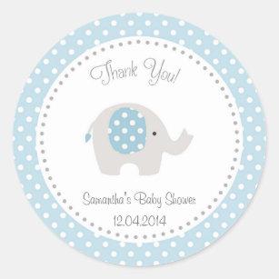Cute Elephant Baby Shower Sticker Blue