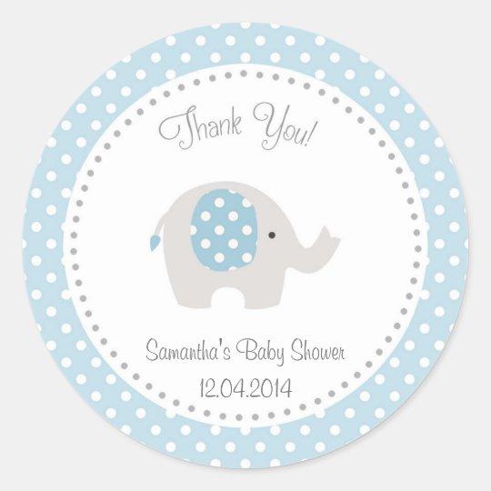 Cute Elephant Baby Shower Sticker Blue Zazzle Com