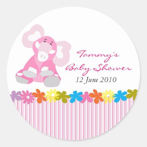 Cute Elephant Baby Shower Sticker - Customizable
