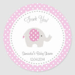 Cute Elephant Baby Shower Sticker Pink