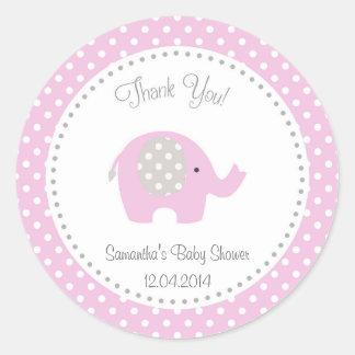 Cute Elephant Baby Shower Sticker Pink Round Sticker