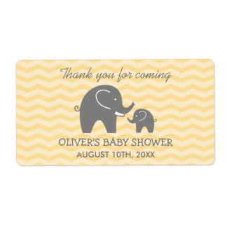 Cute elephant baby shower water bottle stickers