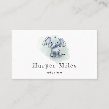 Cute elephant babysitter child care business card