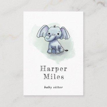 Cute elephant babysitter nanny business card