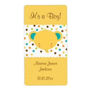 Cute Elephant Birth Announcement It's a Boy Shipping Label