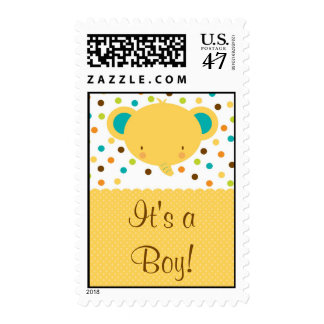 Cute Elephant Birth Announcement It's a Boy Postage