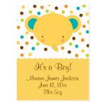 Cute Elephant Birth Announcement It's a Boy Postcards