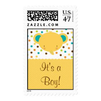 Cute Elephant Birth Announcement It's a Boy Stamp